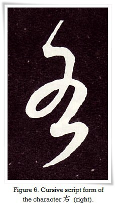 Figure 6. Cursive script form of the character 右 (right).
