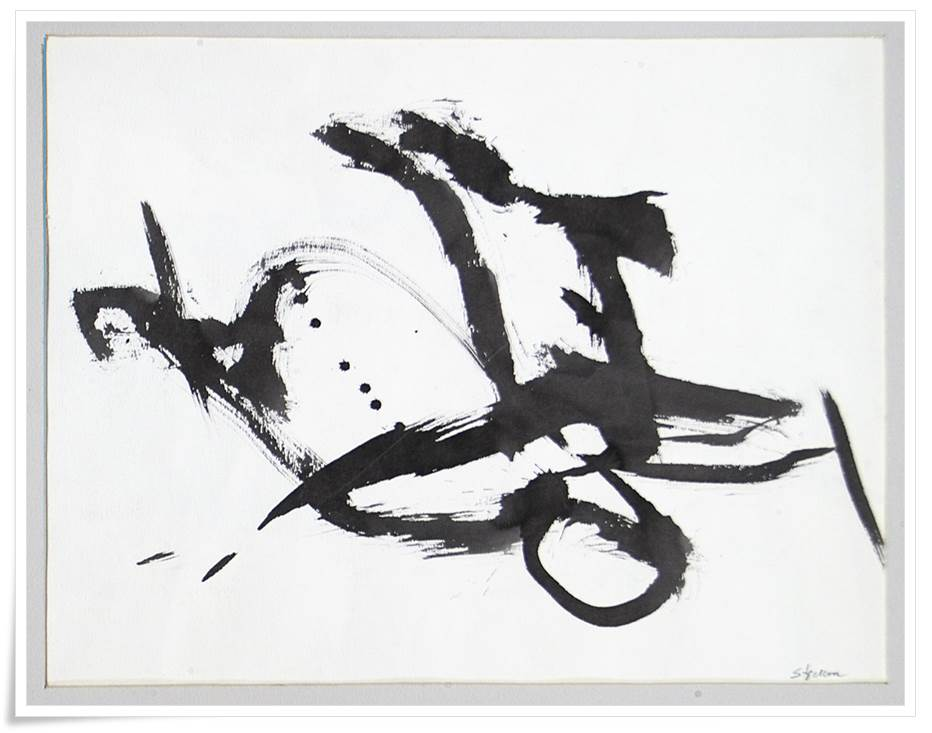 Thresher-Brush, ink on paper, 18 inches H x 24 inches W,