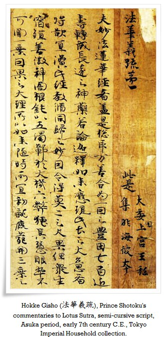 hokke gisho prince shotokus commentaries to lotus sutra iperial treasure 16 - History of Japanese  Calligraphy